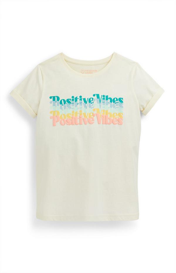 Camiseta color crudo «Positive Vibes» para niña mayor