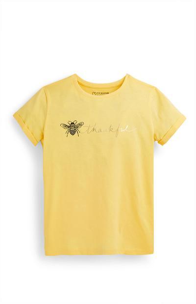 Camiseta amarilla con estampado de abeja para niña mayor