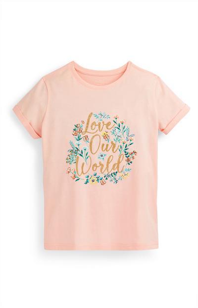 Camiseta rosa palo con estampado floral con texto para niña mayor