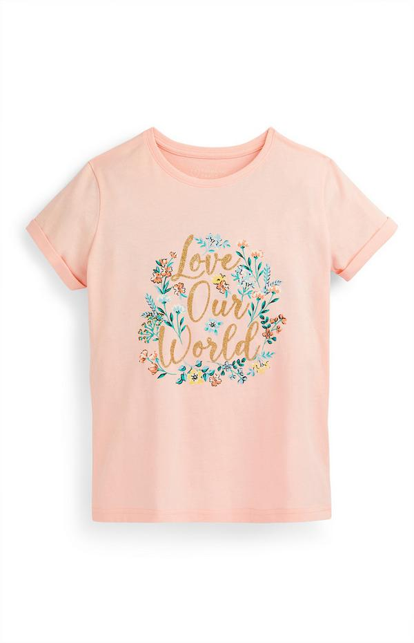 Older Girl Blush Floral Slogan Print T-Shirt