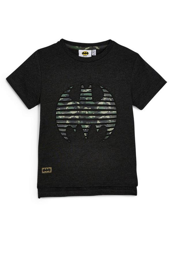 Schwarzes T-Shirt mit Batman-Prägung (kleine Jungen)