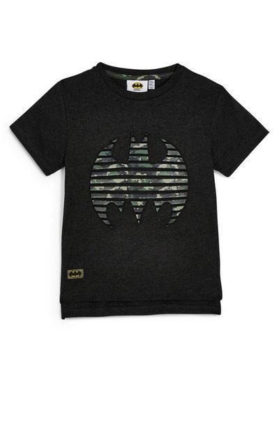 Črna majica s kratkimi rokavi in reliefom Batmana za mlajše fante