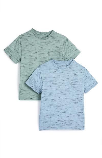 Younger Boy Green and Blue Marl T-Shirt 2 Pack