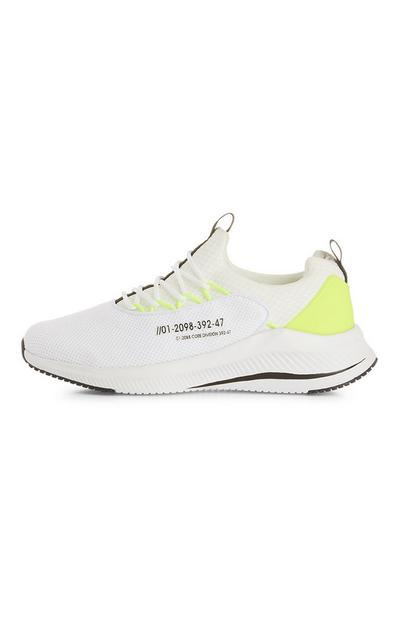 White Coded Neon Pop Trainers