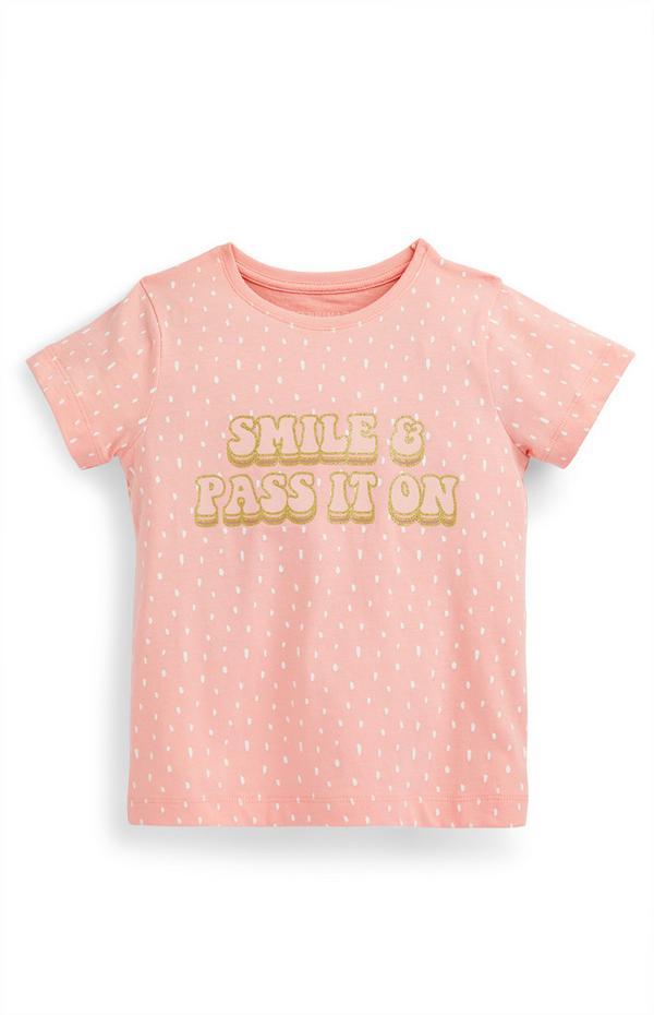 T-shirt rosa con scritta Smile da bambina