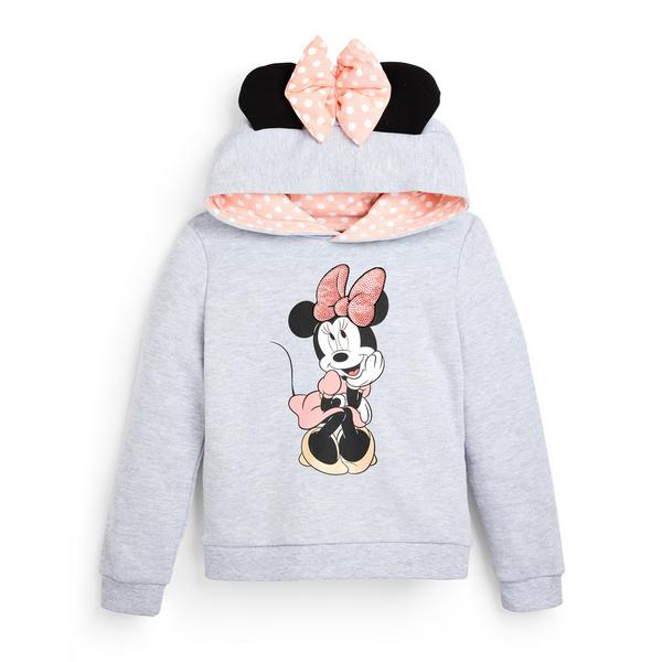 Younger Girl Grey Disney Minnie Mouse Bow Hoodie