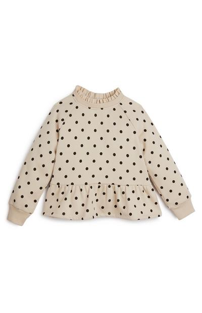 Younger Girl Cream And Black Polka Dot Peplum Crew Neck Top