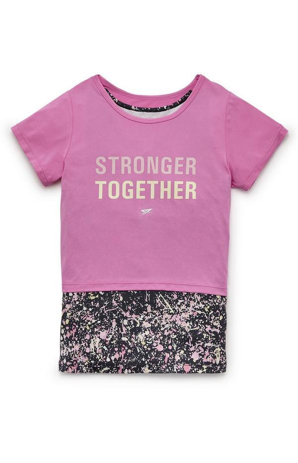 T-shirt de sport rose 2 en 1 pour ado
