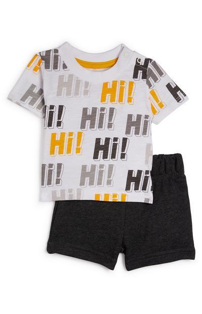 Baby Boy Charcoal And Mustard Hi Shorts And T-Shirt Set
