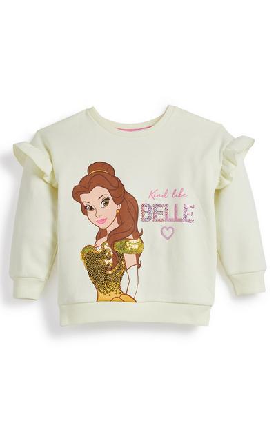 Younger Girl Disney Belle Crew Neck Ruffle Sleeve Sweatshirt