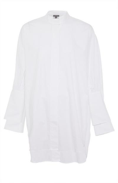 White Deep Cuff Cotton Shirt