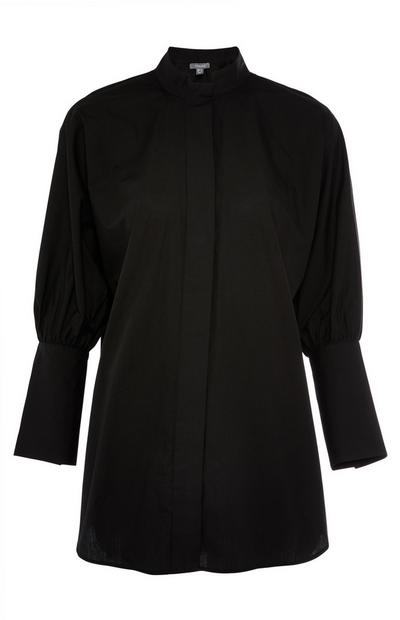 Black Longline Standing Collar Gathered Sleeve Shirt