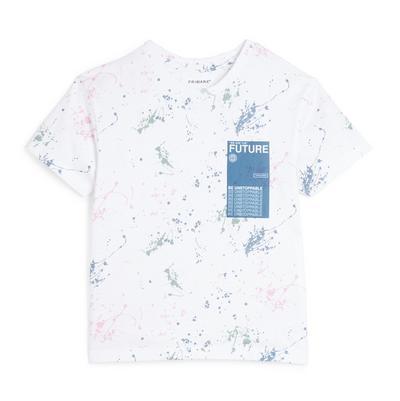 T-shirt blanc à éclaboussures de peinture garçon