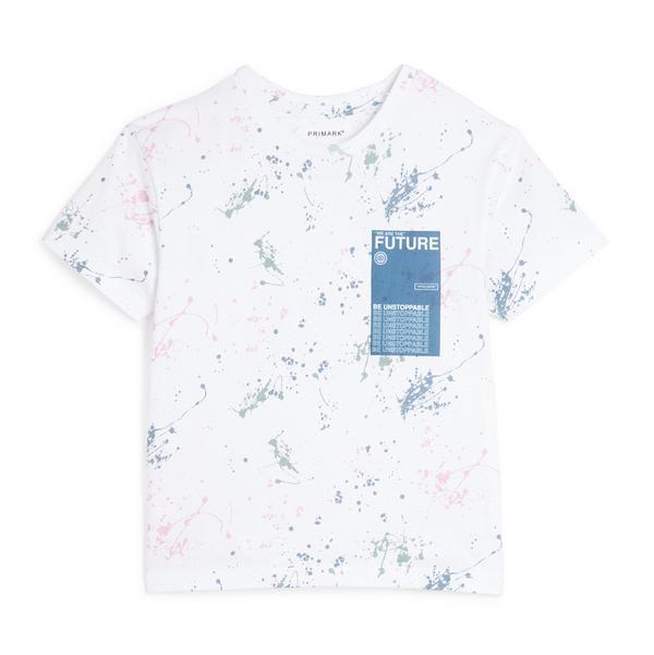 Younger Boy White Paint Splat T-Shirt