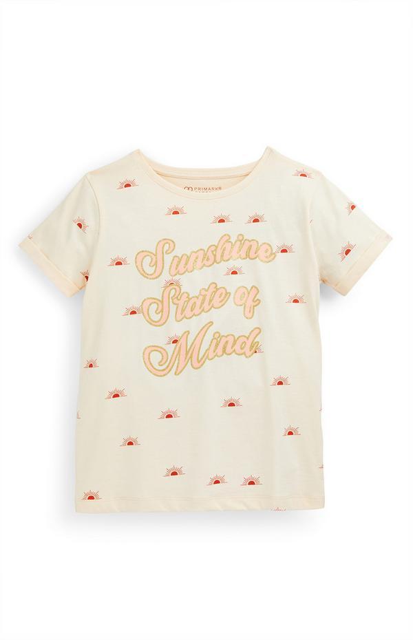 Ecru T-shirt met tekst Sunshine voor meisjes