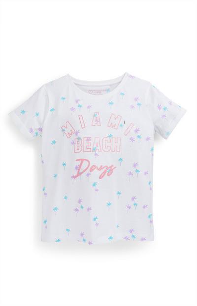 Older Girl White Palm Print T-Shirt