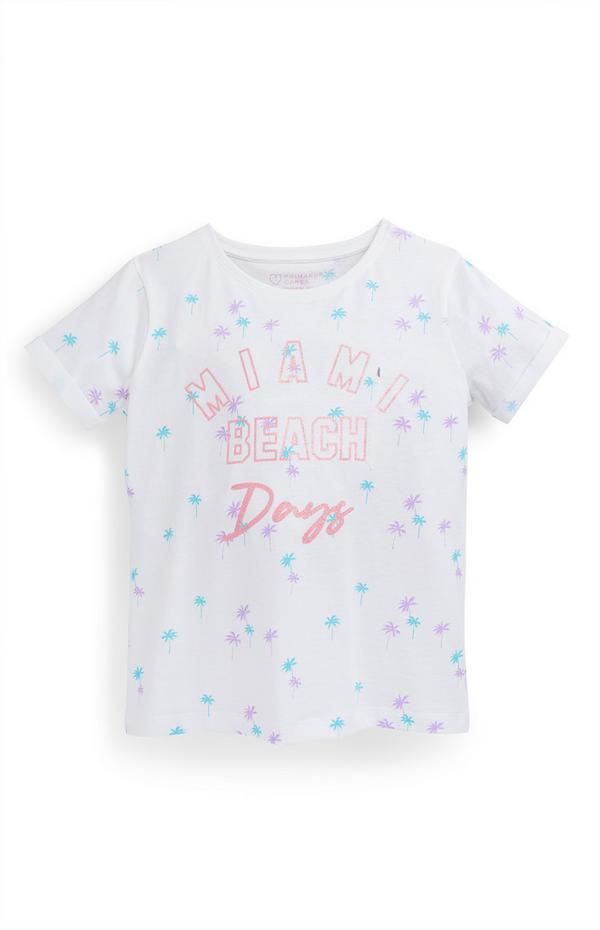Wit T-shirt met palmbomenprint voor meisjes