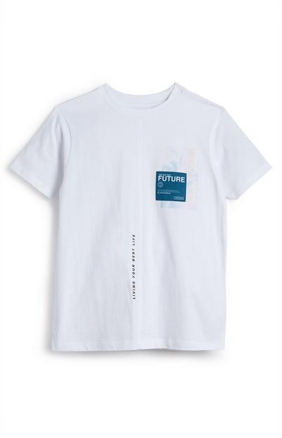 Older Boy White Seam Front T-Shirt