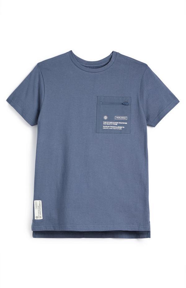 Mornarsko modra majica s kratkimi rokavi in našitkom WorldWide za starejše fante