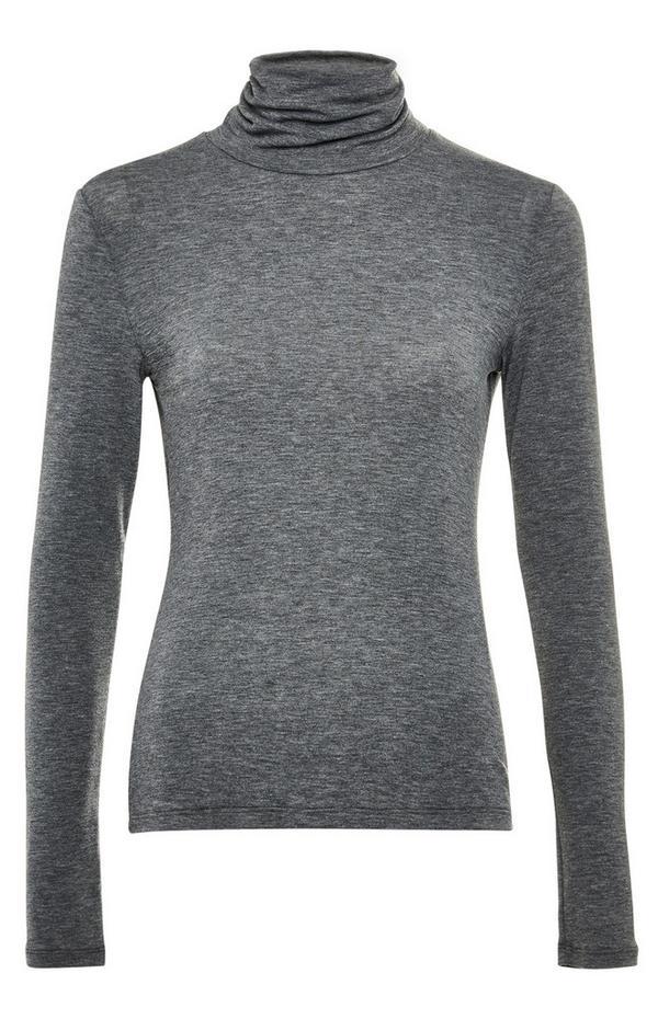 Premium Gray Roll Neck Top