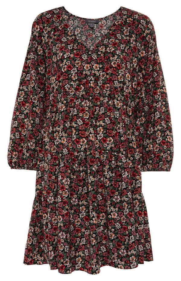 Gebloemde mini-jurk met smokwerk