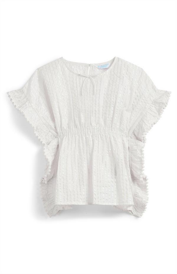 Witte kaftan met strepen voor meisjes