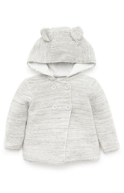 Organic Light Grey Hooded Cardigan