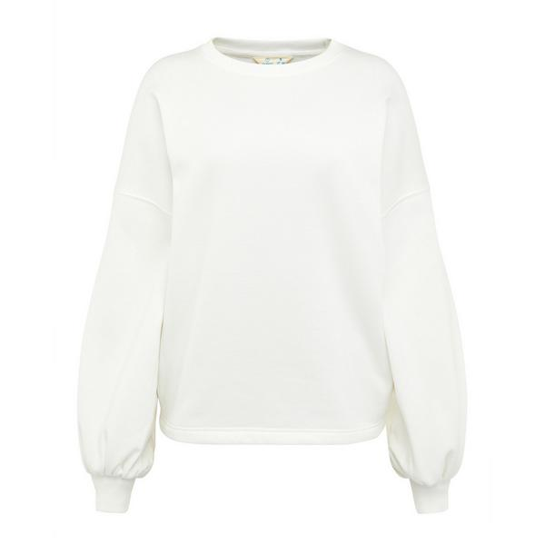 White Recover Puff Sleeve Sweater
