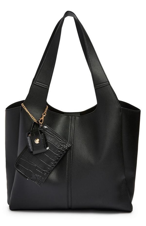 Black Extended Handle Shopper