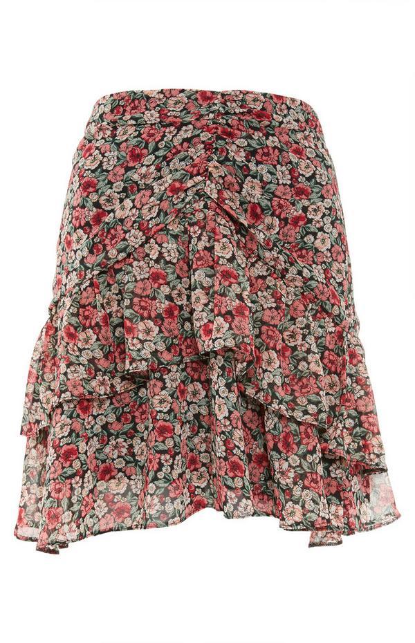 Mini-jupe à fleurs et volants