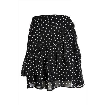 Black Polka Dot Ruffled Mini Skirt