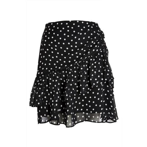 Black Polka Dot Ruffled Mini Skirt