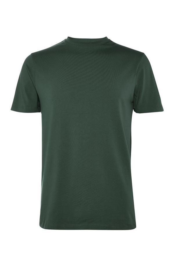 Grünes Stretch-T-Shirt mit Rundhalsausschnitt