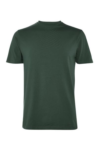 Green Stretch Crew Neck T-Shirt