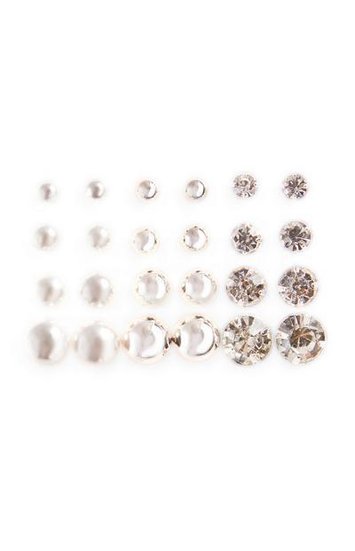 Pack de 12 pendientes de botón de perlas y strass de tamaños diferentes