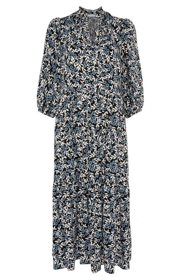 Black Print Crepe Shirt Maxi Dress