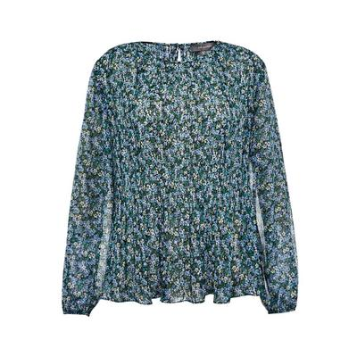 Blue Floral Print Pleated Smock Top