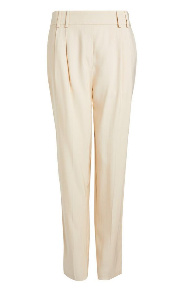 Ecru Relaxed Fit Tailored Trousers