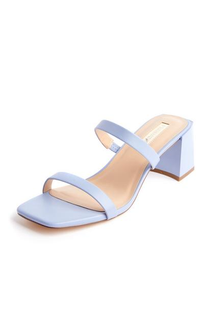 Lilac Double Strap Block Heel Sandals