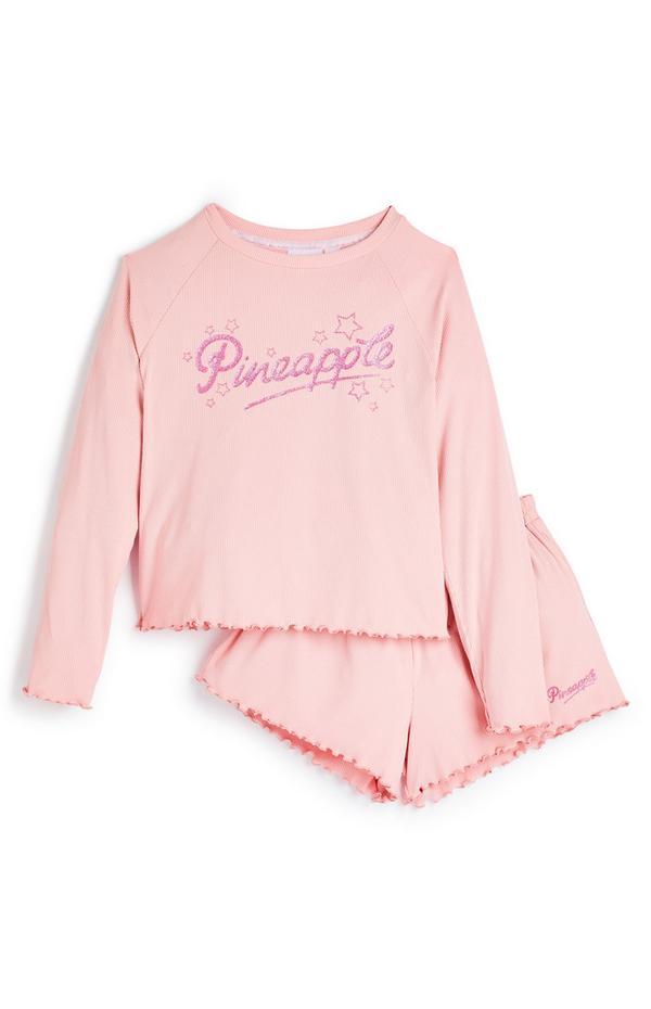 Komplet rožnate majice in kratkih hlač Pineapple za starejša dekleta
