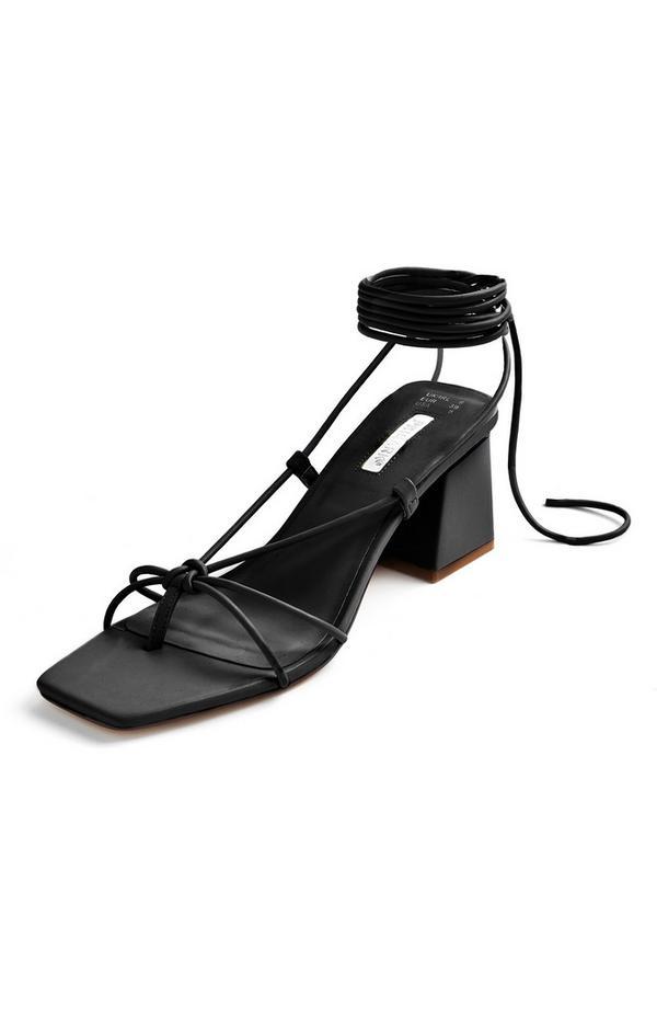 Black Tie Up Block Heel Sandals
