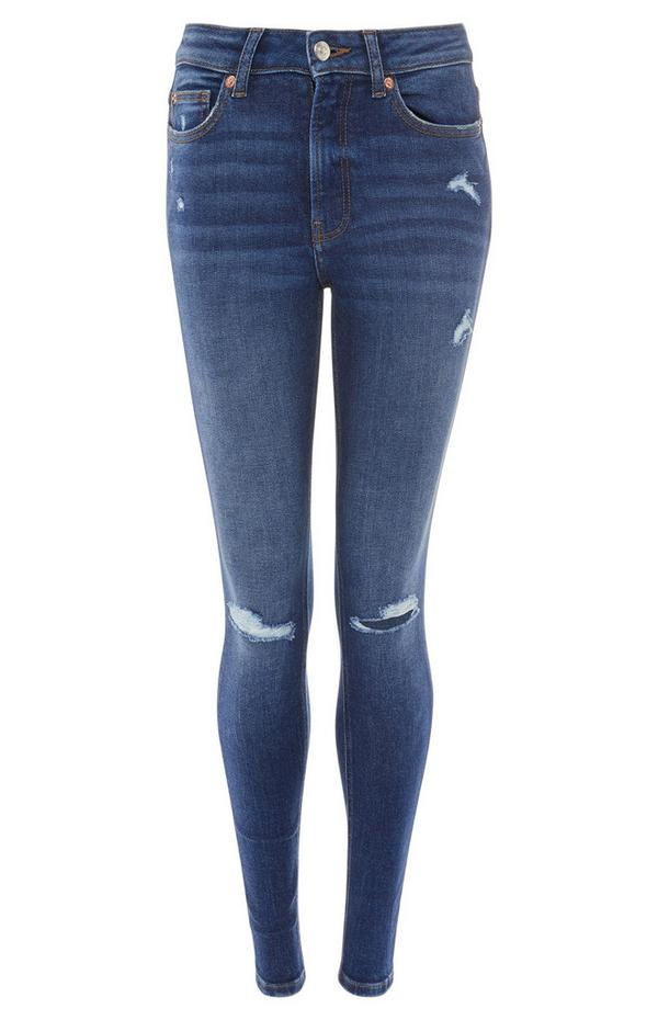 Blue Wash Ripped Skinny Jeans