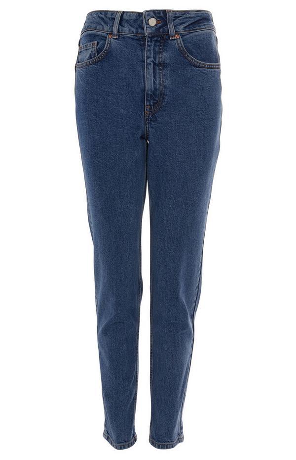 Blaue Slim-Fit-Jeans mit geradem Bein