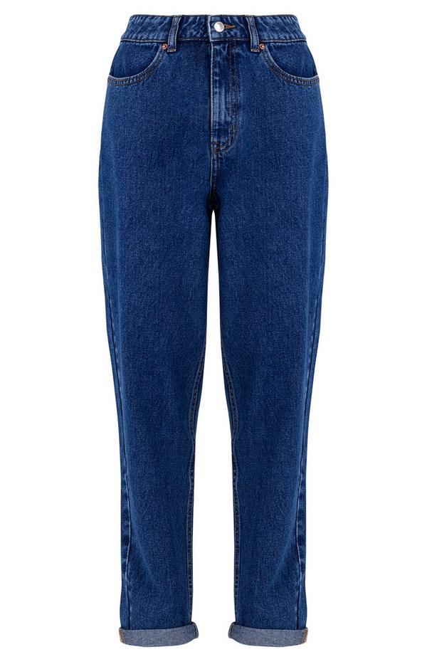 Jeans slim blu a gamba dritta effetto lavato