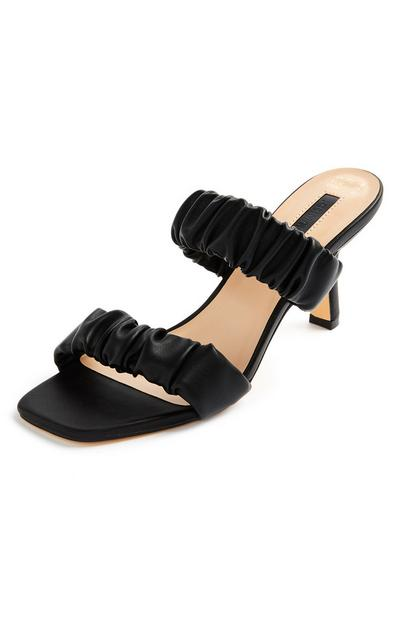 Black Double Scrunched Strap Mules