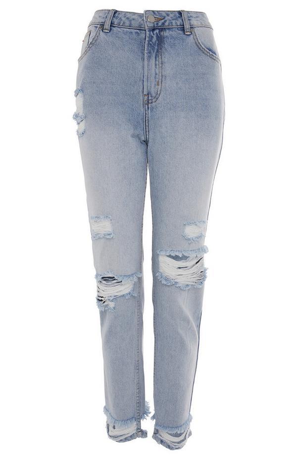 Blauwe stonewash jeans met scheuren en rechte pijpen