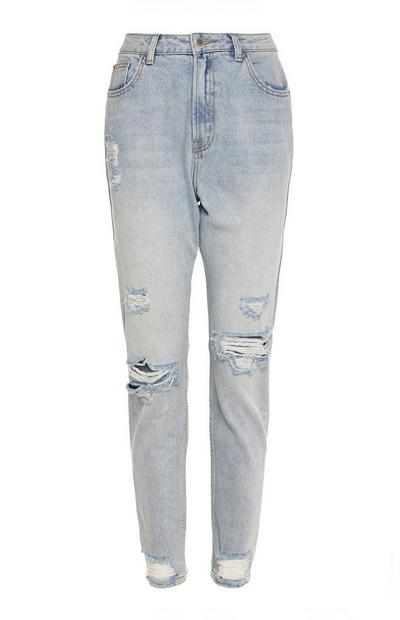 Ausgebleichte Jeans im Used-Look mit geradem Bein