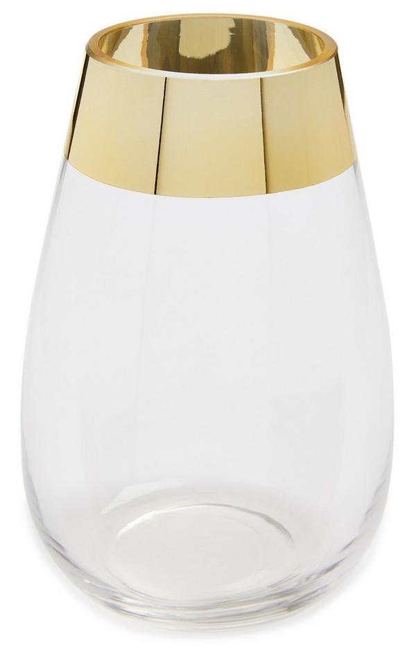 Metallic Gold-Tone Rim Glass Vase