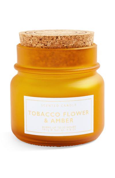 Kleine geurkaars Tobacco & Amber in pot met kurken deksel