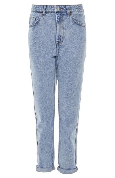 Light Blue Straight Leg Mom Jeans